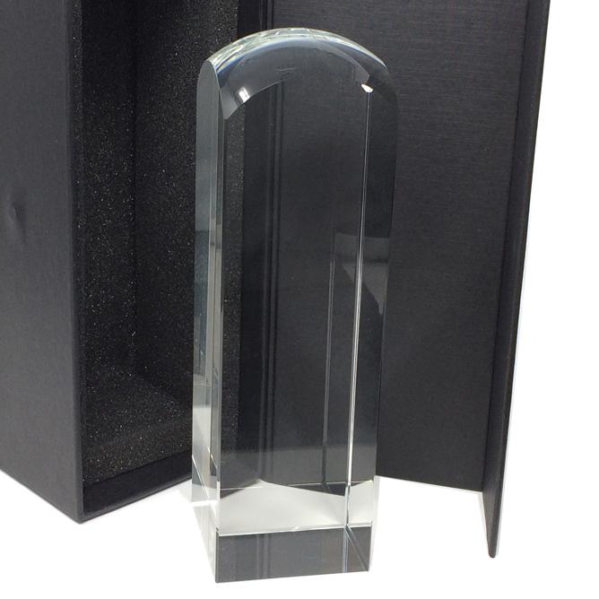 Trophée colonne arrondie en verre pour gravure