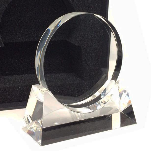 trophée rond gravure sur verre sur socle