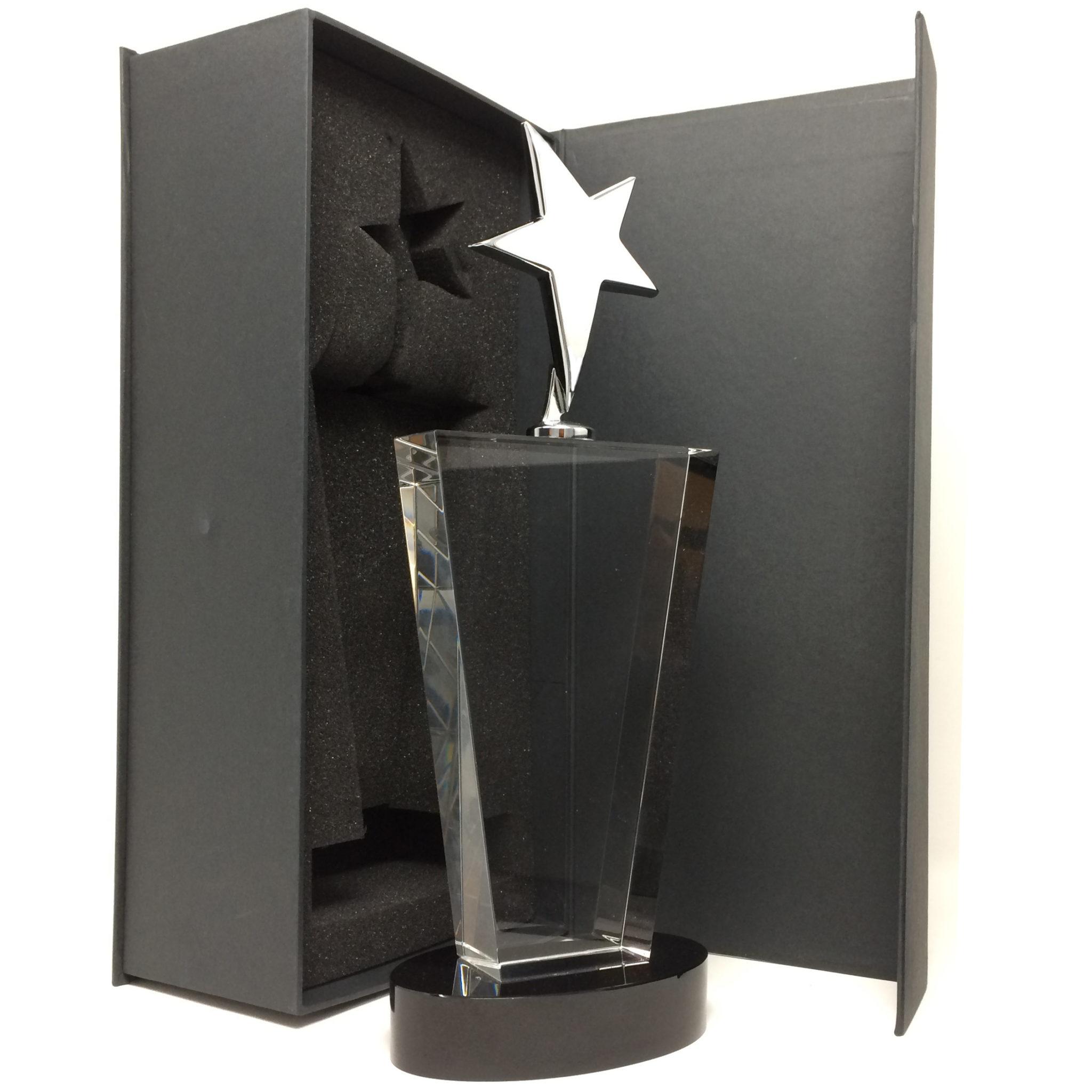 trophée en verre étoile personnalisé