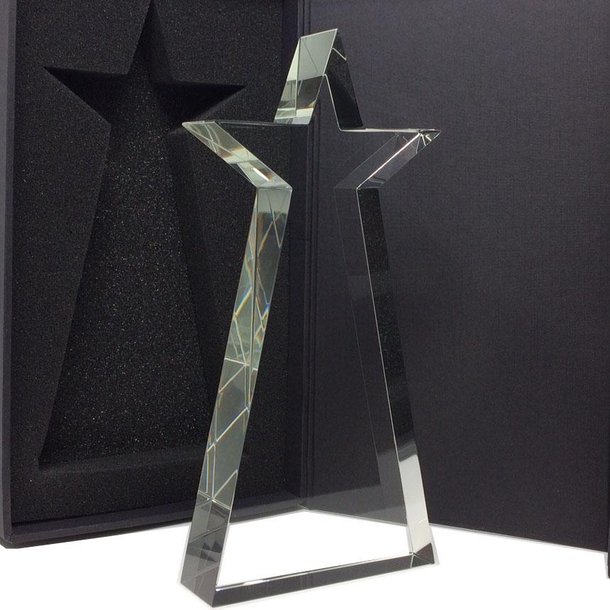 Trophee étoile personnalisable avec gravure verre