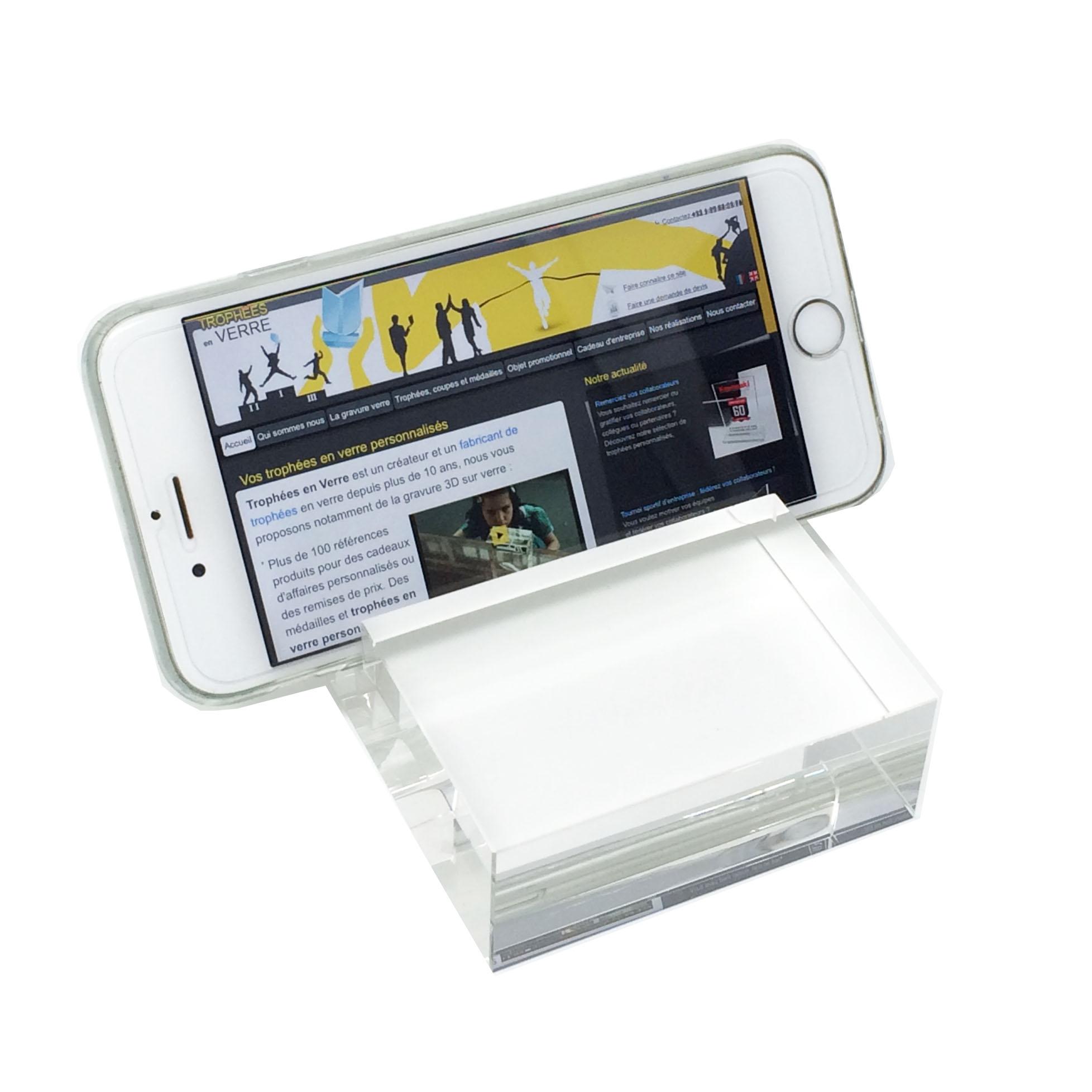 Un support pour le bureau pour votre téléphone, un objet promotionnle idéma , couleur et gravure 3D possible