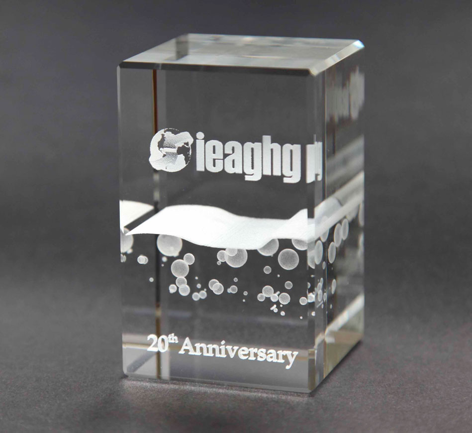 3D laser engraved crystal paperweight