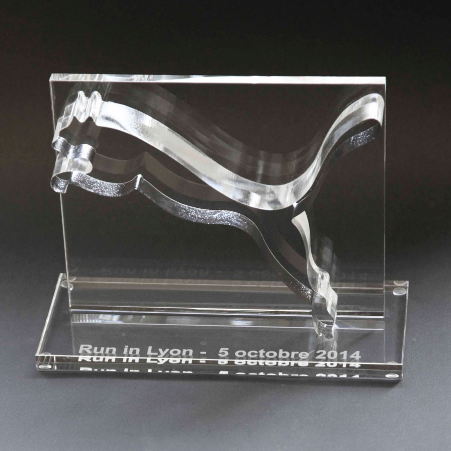 Custom glass trophy Puma