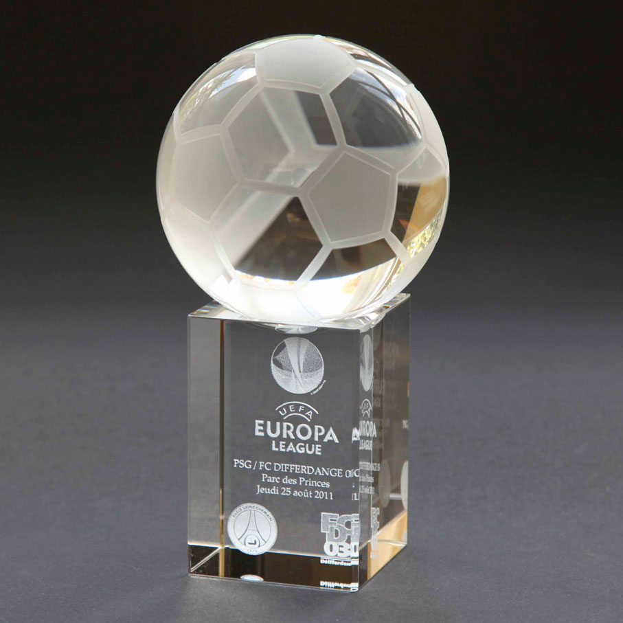Glass football trophy