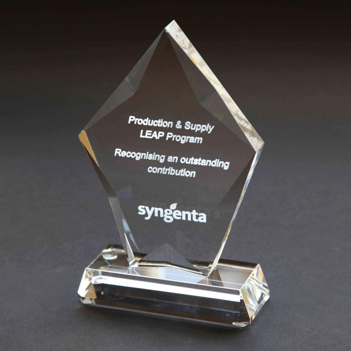 Losange shaped custom engraved trophy 16cm