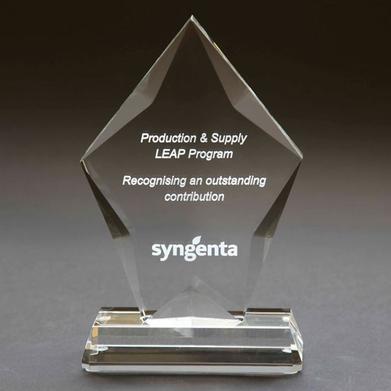 Losange shaped custom engraved trophy with engraving