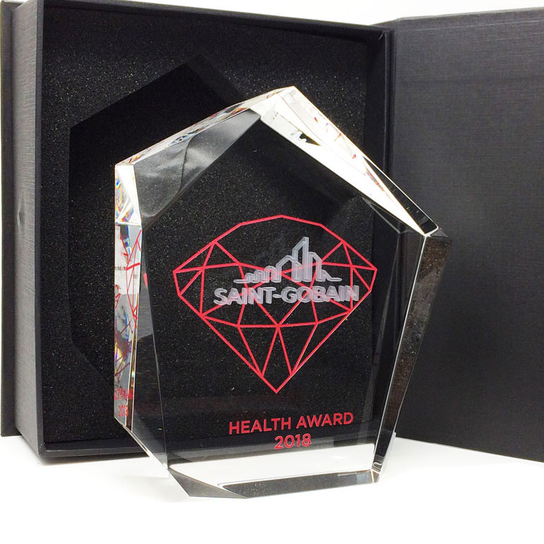 Original shaped trophy award with colour and 3D engraving