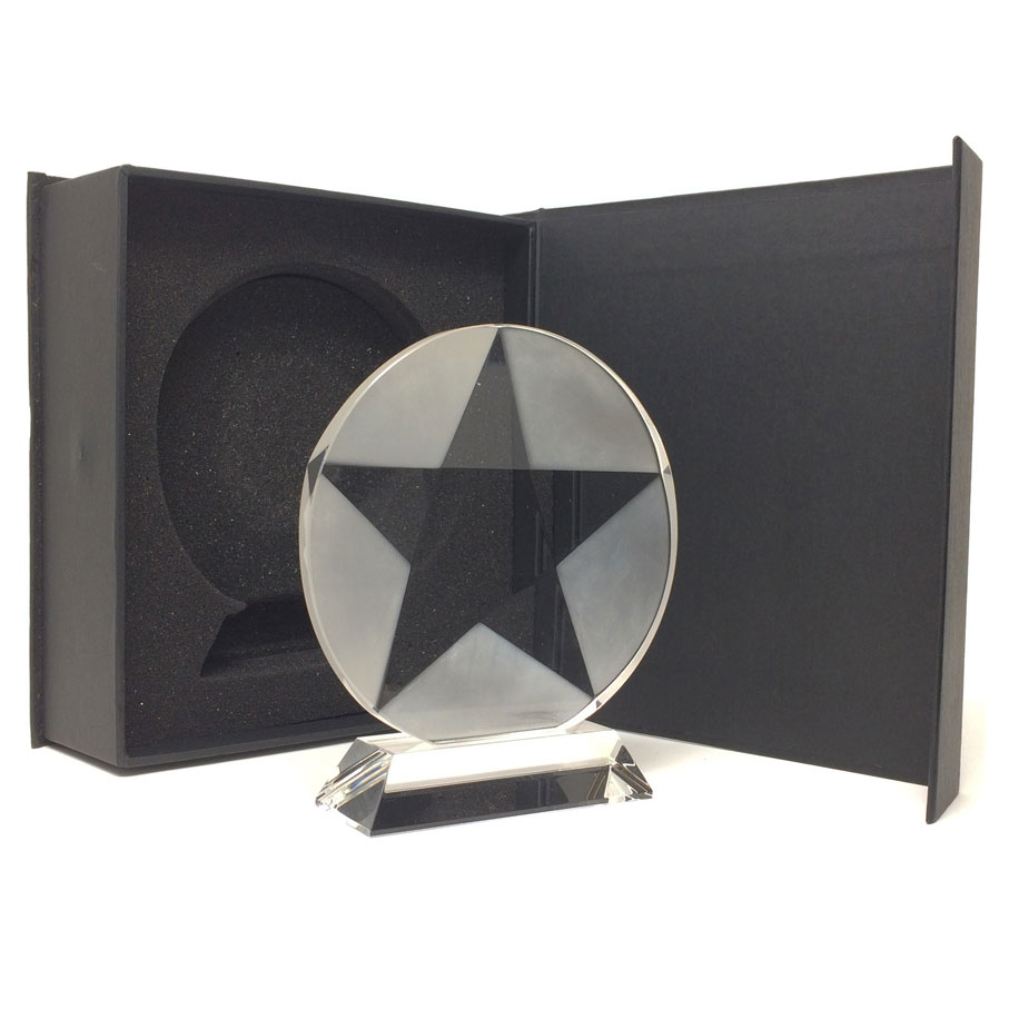 Round star etched glass trophy