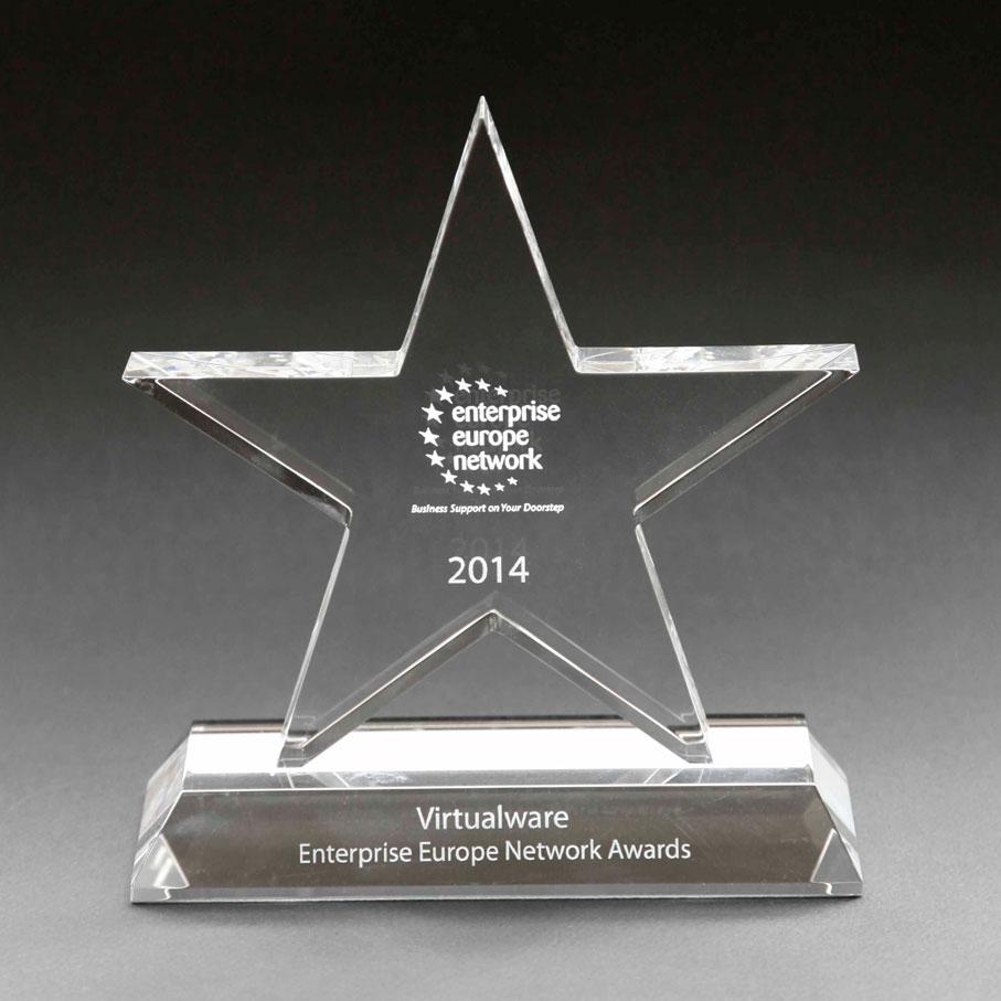 Star crystal glass trophy
